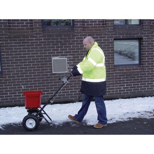 Salt Spreader Coverage 3m Capacity 22kg Pneumatic Tyres Rain Cover Hopper Screen