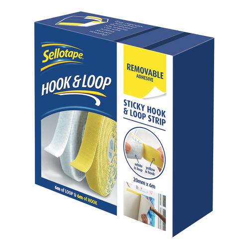 Sellotape Removable Hook & Loop Sticky Pads Self-adhesive Supplied on a Strip 20mm x 6m Ref 2055786