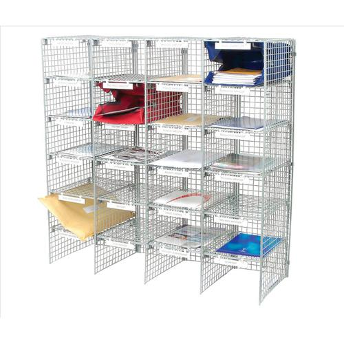 Mailsorter Unit Plastic Coated Wire 24 Compartment Adjustable shelves Grey Ref MSU24G