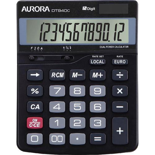 Aurora Semi-desk Calculator 12 Digit 3 Key Memory Battery/Solar Power 115x33x145mm Black Ref DT940C