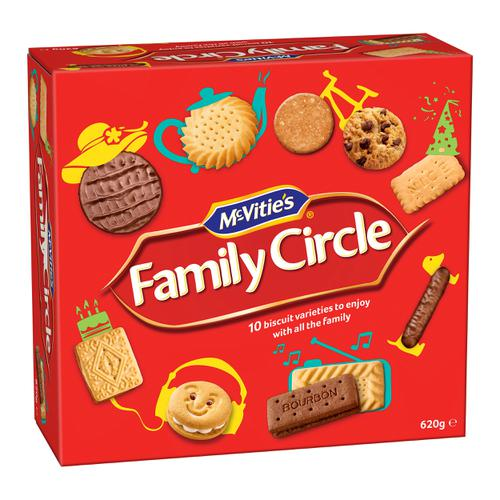 McVities Family Circle Biscuits Re-sealable Box Assorted 10 Varieties 620g Ref 0401200