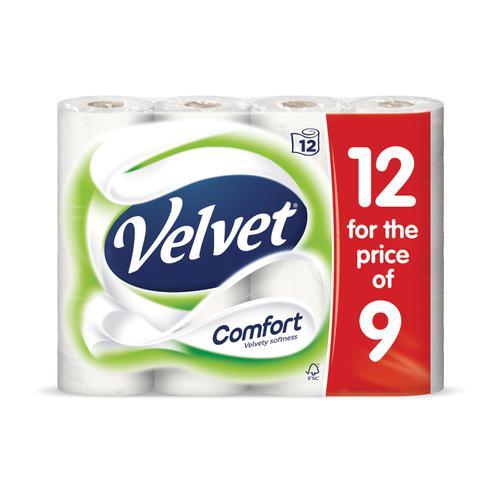 Velvet Comfort Toilet Rolls 210 Sheets 2-ply White Ref 1102092 [Pack 12]