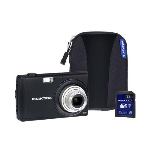 Praktica Z250 Digital Camera Kit 20MP HD Video Case and 32GB SD Card Black Ref PRA292