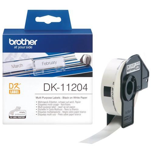Brother P-Touch DK-11204 17mmx54mm Multi-Purpose Labels 400 Labels Ref DK11204 *3to5 Day Leadtime*