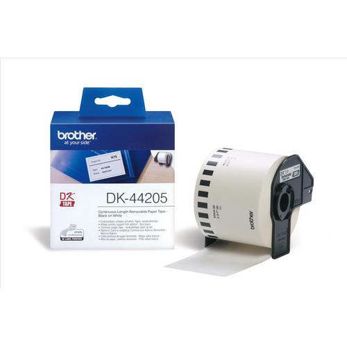 Brother P-Touch DK-44205 62mmx30.48m Continuous Remov White Paper Tape Ref DK44205 *3to5 Day Leadtime*