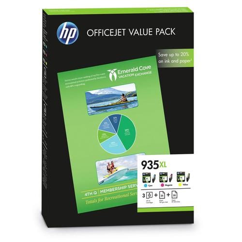 HP No.935XL Ink Cartridge Officejet Value Pack C/M/Y Plus A4 Paper Ref F6U78AE