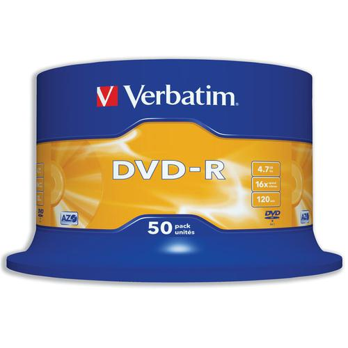 Verbatim DVD-R 4.7GB 16X Spindle Ref 43548 [Pack 50]