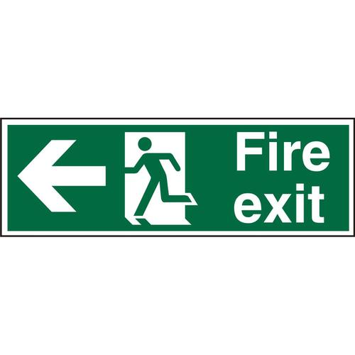 Prestige Sign 2mm DS 300x100 FireExit Man Running &Arrow Left Ref ACSP120300x100 *Up to 10 Day Leadtime*
