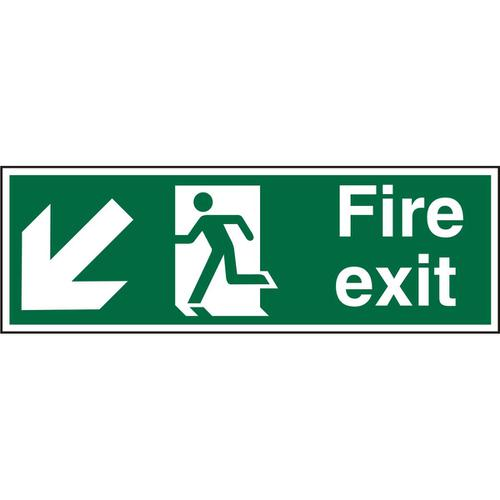 PrestigeSign 2mm DS 300x100 FireExit Man Running LeftArrow Ref ACSP122300x100 *Up to 10 Day Leadtime*
