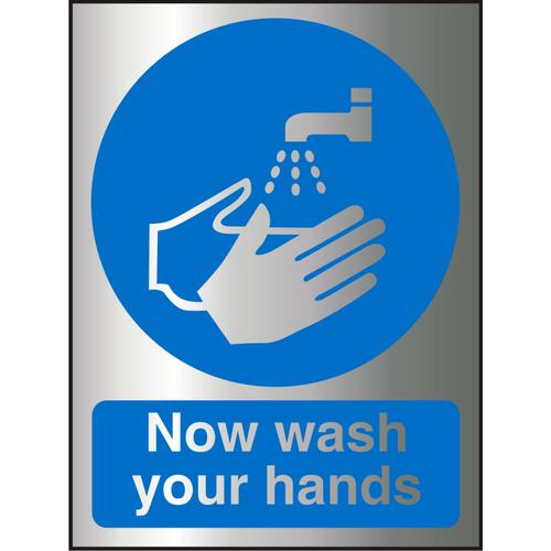Brushed Alu Effect Acrylic Sign 2mm150x200 Now Wash Your Hands Ref BACM001150x200 *Up to 10 Day Leadtime*