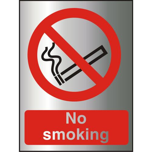Brushed Aluminium Effect Acrylic Sign 2mm 150x200 No Smoking Ref BACP089-150x200 *Up to 10 Day Leadtime*