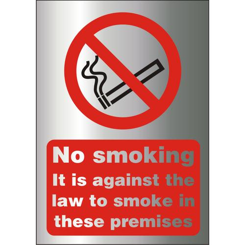 BrushedAlu Effect Sign 2mm Against The Law To Smoke Premises Ref BACSB003150x200 *Up to 10 Day Leadtime*