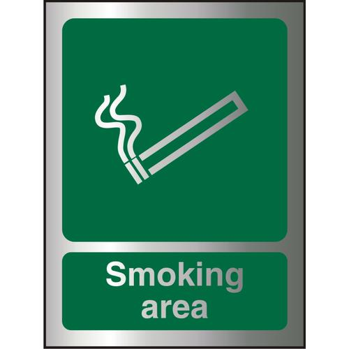 Brushed Alu Effect Acrylic Sign 2mm 150x200 Smoking Area Ref BACSP050150x200 *Up to 10 Day Leadtime*