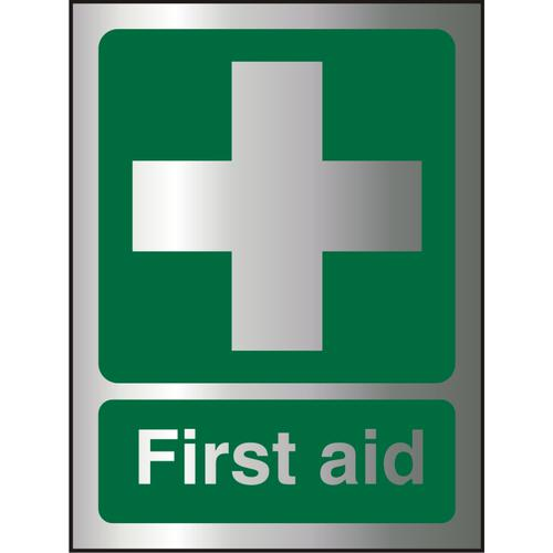 Brushed Aluminium Effect Acrylic Sign 2mm 150x200 First Aid Ref BACSP310-150x200 *Up to 10 Day Leadtime*