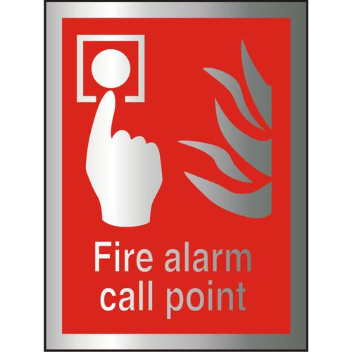 Brushed Alu Comp Sign 150x200 1.5mm S/A Fire Alarm Call Point Ref BAFF073150x200 *Up to 10 Day Leadtime*