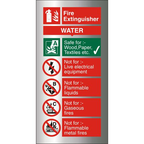 Brushed Alu Comp Sign 100x200 1.5mm S/A Fire ExtinguisherWater Ref BAFF091100x200 *Up to 10 Day Leadtime*
