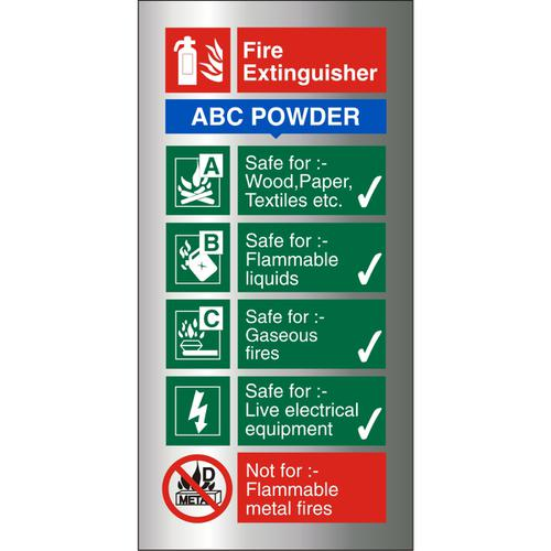 Brushed Alu Sign 100x200 1.5mm S/A FireExtinguisherABC Powder Ref BAFF092100x200 *Up to 10 Day Leadtime*