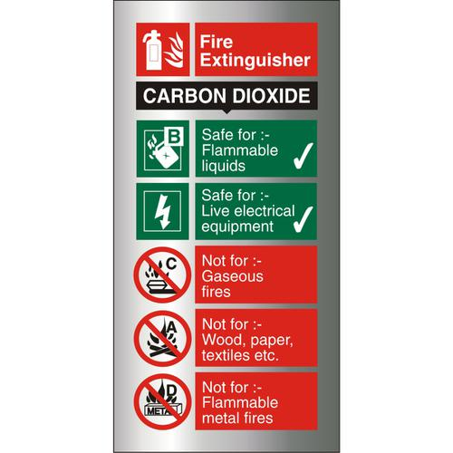 Brushed Alu Comp Sign 100x200 1.5mm S/A Fire Extinguisher CO2 Ref BAFF093100x200 *Up to 10 Day Leadtime*