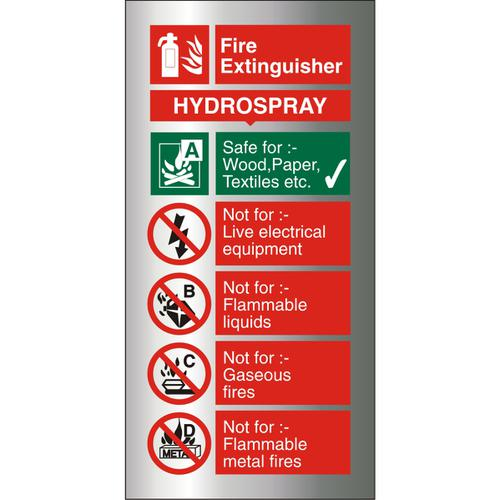 Brushed Alu Sign 100x200 1.5mm S/A FireExtinguisherHydrospray Ref BAFF099100x200 *Up to 10 Day Leadtime*