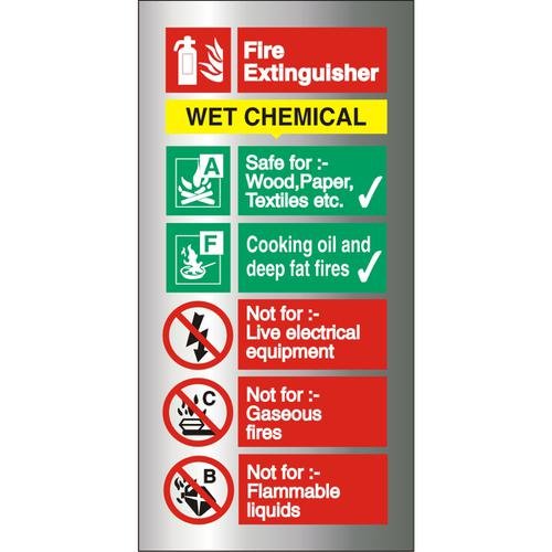 Brushed Alu Sign 100x200 1.5mm S/A Fire ExtinguisherWet Chem Ref BAFF100100x200 *Up to 10 Day Leadtime*