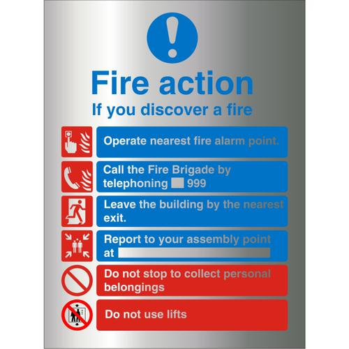 BrushedAlu Sign 210x300 1.5mm S/A Action If You Discover A Fire Ref BAM032210x300 *Up to 10 Day Leadtime*
