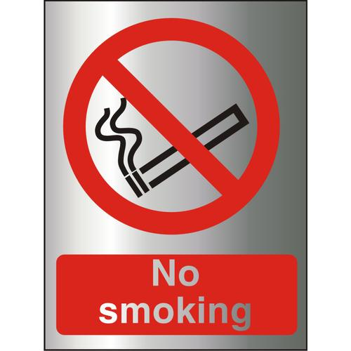 Brushed Alu Comp Sign 150x200 1.5mm Alu S/A backing No Smoking Ref BAP089150x200 *Up to 10 Day Leadtime*