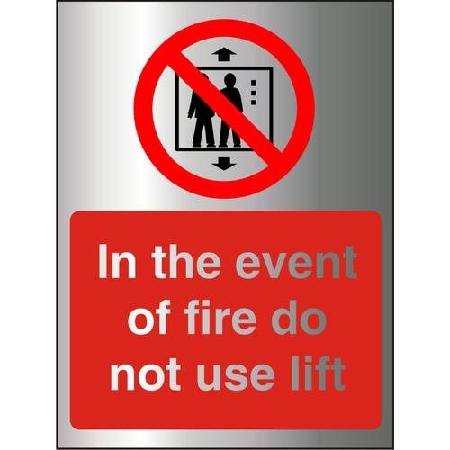 BrushedAlu Sign 150x200 1.5mm S/A In Event Of Fire DoNot Use Lift Ref BAP103150x200 *Upto 10Day Leadtime*