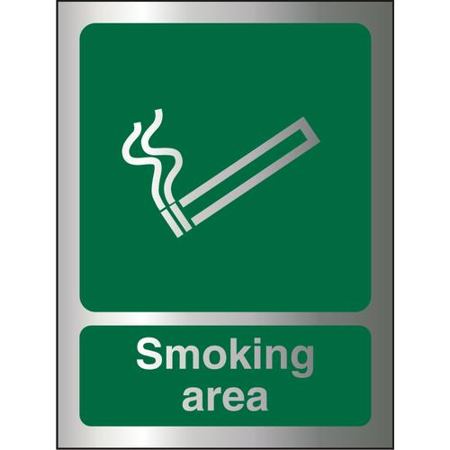 Brushed Alu Comp Sign 150x200 1.5mm Alu S/A Smoking Area Ref BASP050150x200 *Up to 10 Day Leadtime*