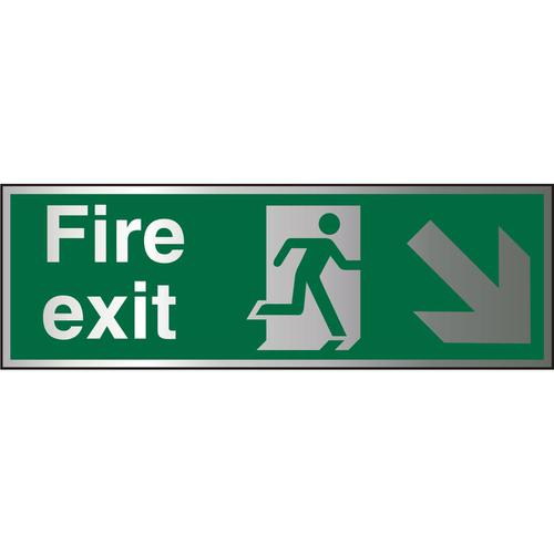 BrushedAlu Sign 1.5mm S/A FireExit Man Run Right&Arrow Ref BASP123*Up to 10 Day Leadtime*