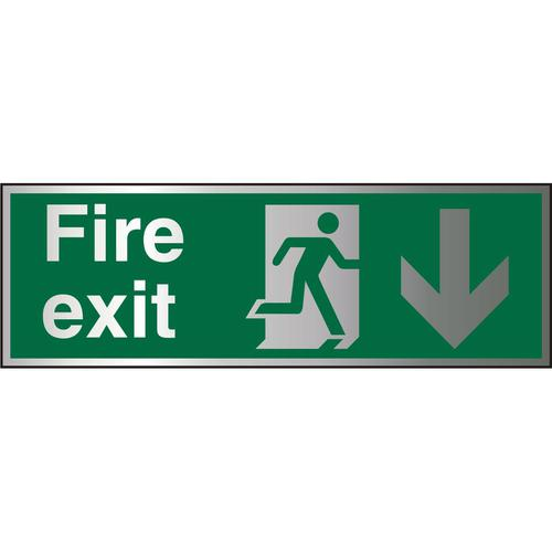 Brushed Alu Sign 1.5mm S/A FireExit Man Run Right&Arrow Down Ref BASP124450x150 *Up to 10 Day Leadtime*