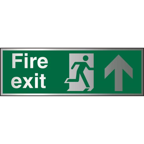 Brushed Alu Sign 1.5mm S/A FireExit Man Run Rght&Arrw Up Ref BASP129*Up to 10 Day Leadtime*