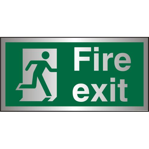 Brushed Alu Sign 300x150 1.5mm Alu S/A FireExit Man Run Right Ref BASP318300x150 *Up to 10 Day Leadtime*