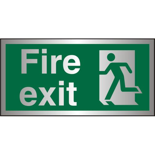 Brushed Alu Sign 300x150 1.5mm S/A FireExit Man Running Left Ref BASP319300x150 *Up to 10 Day Leadtime*