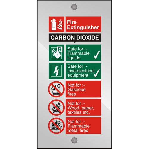 Clear Acrylic Sign 100x200 5mm Fire Extinguisher CO2 Ref CACFF093100x200 *Up to 10 Day Leadtime*
