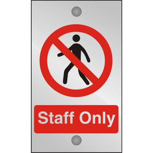 Clear Acrylic Sign 120x200 5mm Acrylic Staff Only Ref CACP085120x200 *Up to 10 Day Leadtime*