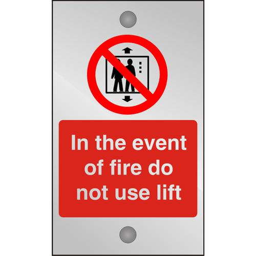 Clear Sign 120x200 5mm In The Event Of Fire Do Not Use Lift Ref CACP103120x200 *Up to 10 Day Leadtime*
