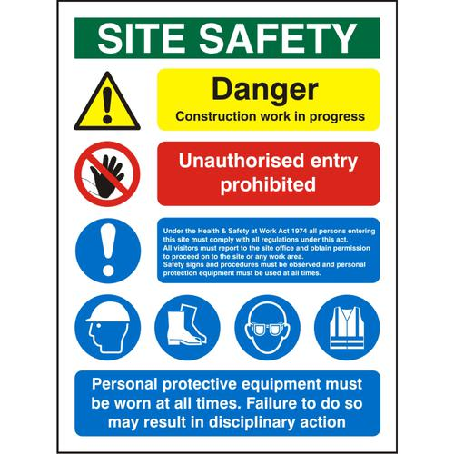 Construction Safety Board 600x800 3mm Foam PVC Safety Ref CON001FB600x800 *Up to 10 Day Leadtime*