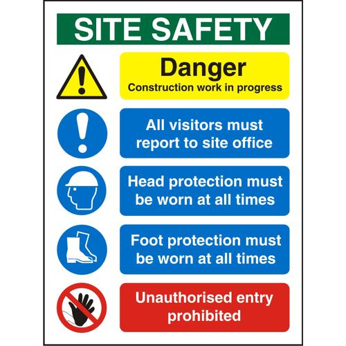 Construction Safety Board 600x800 3mm Foam PVC Safety Ref CON002FB600x800 *Up to 10 Day Leadtime*