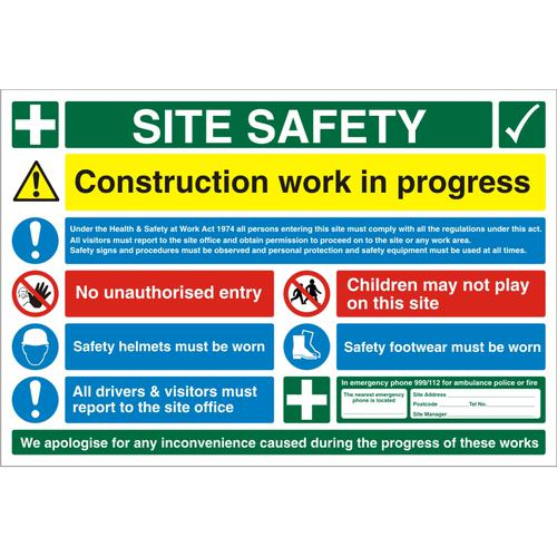 Construction Safety Board 900x600 3mm Foam PVC Safety Ref CON004FB900x600 *Up to 10 Day Leadtime*