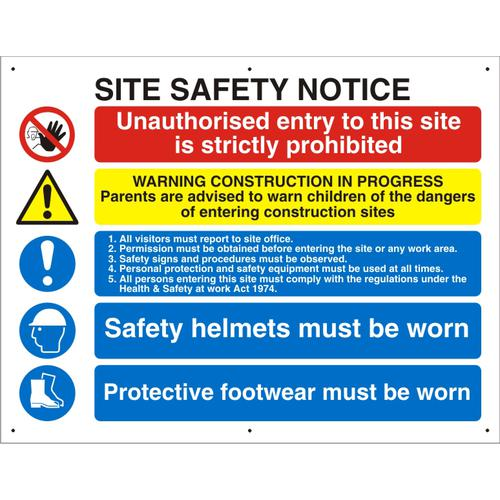 Construction Safety Board 800x600 3mm Foam PVC Safety Ref CON006FB800x600 *Up to 10 Day Leadtime*