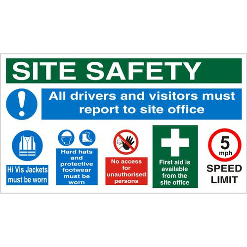 Construction Safety Board 800x450 3mm Foam PVC Safety Ref CON007FB800x450 *Up to 10 Day Leadtime*
