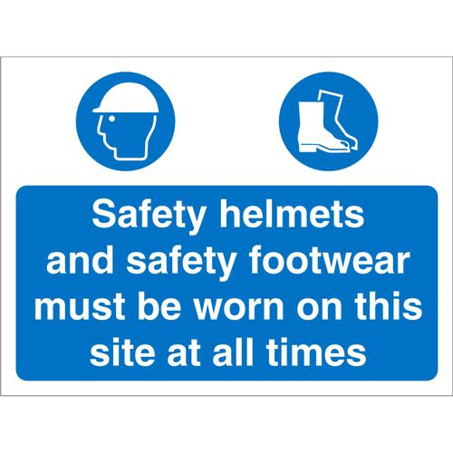 Construction 600x450 4mm Safety Helmets&Shoes Must Be Worn Ref CON011Cx600x450 *Up to 10 Day Leadtime*