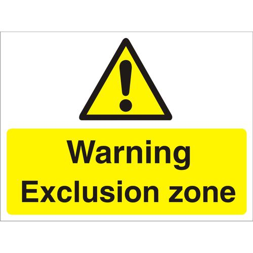 Construction Board 600x450 4mm Fluted Warning Exclusion Zone Ref CON020Cx600x450 *Up to 10 Day Leadtime*