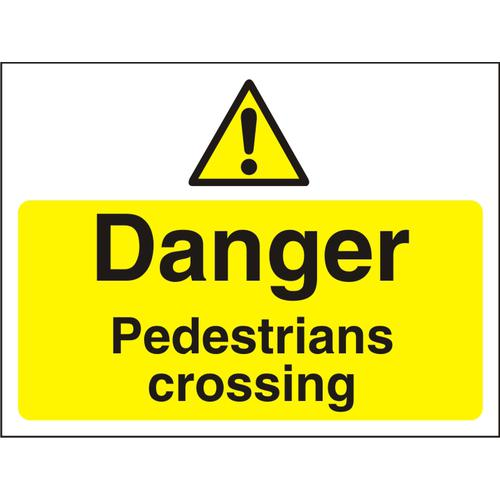 Construction Board 600x450 4mm Danger Pedestrians Crossing Ref CON024Cx600x450 *Up to 10 Day Leadtime*