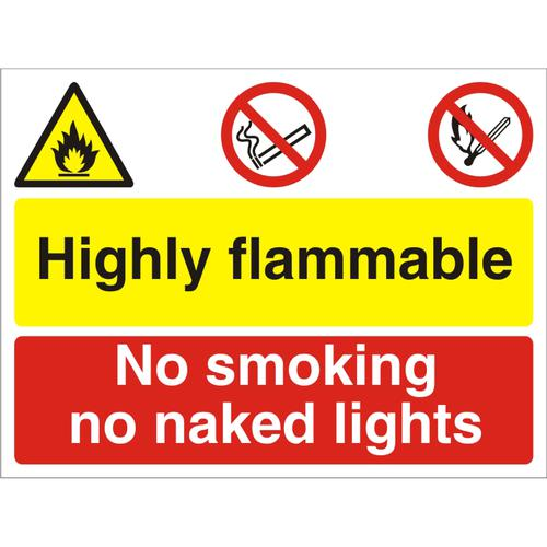 Construction Board 600x450 4mm Highly Flammable No Smoking Ref CON043Cx600x450 *Up to 10 Day Leadtime*