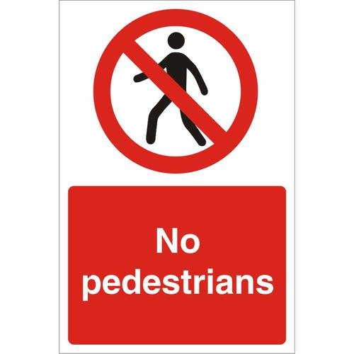 Construction Safety Board 400x600 3mm foam PVC No Pedestrians Ref CON054FB400x600 *Up to 10 Day Leadtime*