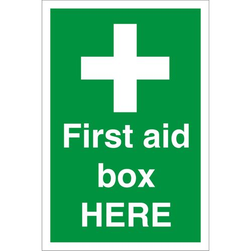 Construction Board 400x600 3mm foam PVC First Aid Box Here Ref CON055FB400x600 *Up to 10 Day Leadtime*