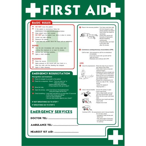 First Aid Sign A2 x 0.44mm Polypropylene Poster First Aid (Basic Rules) Ref HS014 *Up to 10 Day Leadtime*