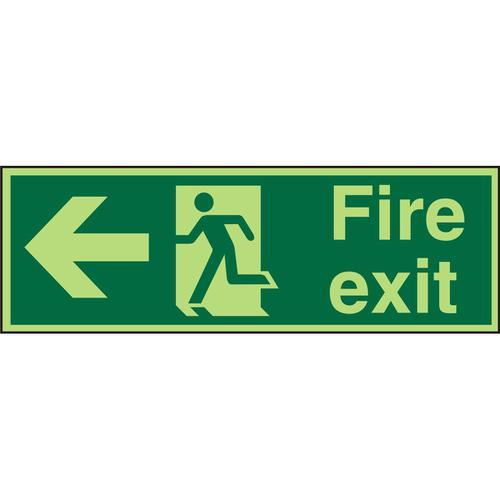 Photolum Sign 2mm 450x150 FireExit Man Running&Arrow Left Ref PACSP120450x150 *Up to 10 Day Leadtime*