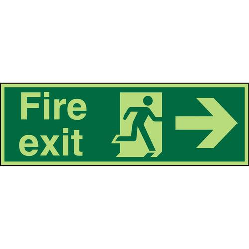 Photolum Sign 2mm 300x100 FireExit Man Running&Arrow Right Ref PACSP121300x100 *Up to 10 Day Leadtime*